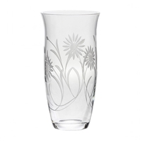 Crystal Large Tulip Vase with Hand Cut Sunflowers Design by Royal Scot Crystal