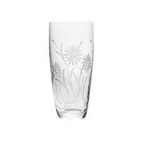 Crystal Tall Vase with Hand Cut Sunflowers Design by Royal Scot Crystal