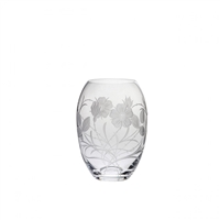 Crystal Elizabeth Rose Small Barrel Vase by Royal Scot Crystal