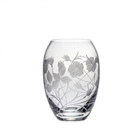 Crystal Elizabeth Rose Medium Barrel Vase by Royal Scot Crystal