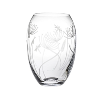 Crystal Dragonfly Design Small Barrel Vase by Royal Scot Crystal
