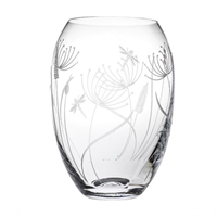 Crystal Dragonfly Design Medium Barrel Vase by Royal Scot Crystal