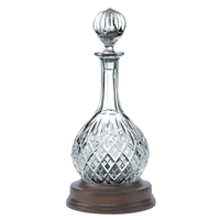 Lead Crystal Hoggit Decanter with Solid Mahogany Base. London design by Royal Scot Crystal
