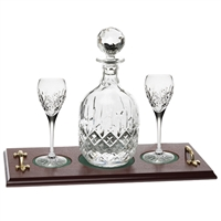 Crystal Port Decanter and Glass Set with Mahogany Tray. London Design by Royal Scot Crystal