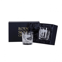 Pair Wildlife Collection Hand Cut Whisky Tumblers with Salmon design by Royal Scot Crystal
