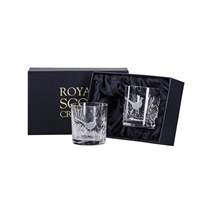 Pair Wildlife Collection Hand Cut Whisky Tumblers with Pheasant design by Royal Scot Crystal