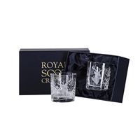 Pair Wildlife Collection Hand Cut Whisky Tumblers with Stag design by Royal Scot Crystal