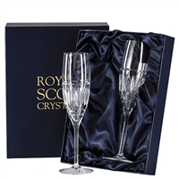 Pair Crystal Art Deco Design Champagne Flute Glasses by Royal Scot Crystal
