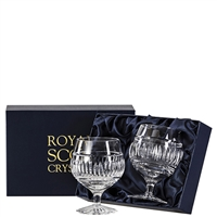 Pair Crystal Art Deco Design Brandy Balloon Glasses by Royal Scot Crystal