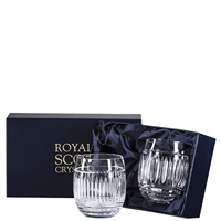 Pair Crystal Art Deco Design Barrel Gin & Tonic Glasses by Royal Scot Crystal