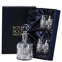 Crystal Art Deco Design Round Whisky or Spirit Decanter and Glass Set by Royal Scot Crystal