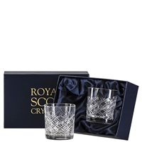 Pair Crystal Tartan Design Whisky Tumbler Glasses by Royal Scot Crystal
