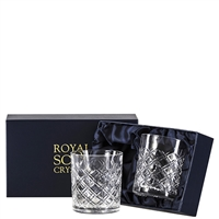 Pair Crystal Tartan Design Large Tumbler Glasses by Royal Scot Crystal