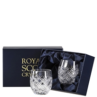 Pair Crystal Tartan Design Gin & Tonic Barrel Tumbler Glasses by Royal Scot Crystal