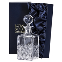 Crystal Tartan Design Square Whisky or Spirit Decanter by Royal Scot Crystal