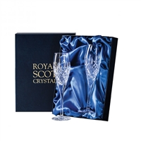 Pair London Design Champagne Flute Glasses by Royal Scot Crystal