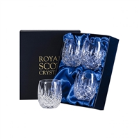 Boxed Four London Design Gin & Tonic Barrel Tumbler Glasses by Royal Scot Crystal