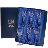 Boxed Six London Design Port or Sherry Glasses by Royal Scot Crystal