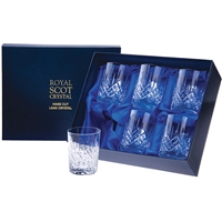 Boxed Six London Design Large Tumbler Glasses by Royal Scot Crystal