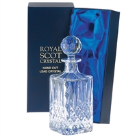 Traditional Crystal Square Whisky / Spirit Decanter. London Design. Presentation Boxed By Royal Scot Crystal