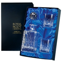 Traditional Square Cut Crystal Decanter and Glasses Set. London Design. Presentation Boxed By Royal Scot Crystal