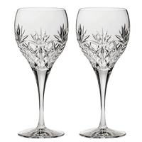 Pair Kintyre Pattern Red Wine Wine Glasses. Gift Boxed by Royal Scot Crystal