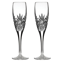 Pair Kintyre Pattern Champagne Flute Glasses. Gift Boxed by Royal Scot Crystal