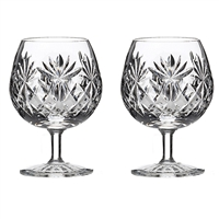 Pair Kintyre Pattern Brandy or Cognac Balloon Glasses. Gift Boxed by Royal Scot Crystal