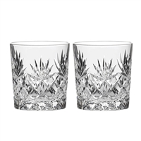 Pair Kintyre Pattern Whisky Tumbler Glasses. Gift Boxed by Royal Scot Crystal