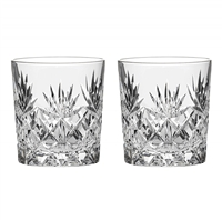 Pair Kintyre Pattern Large Spirit Tumbler Glasses. Gift Boxed by Royal Scot Crystal
