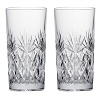 Pair Kintyre Pattern Tall Tumbler Glasses. Gift Boxed by Royal Scot Crystal