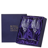 Pair Highland Pattern Red Wine Glasses. Presentation Boxed by Royal Scot Crystal