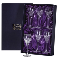 Six Highland Pattern Port or Sherry Glasses. Presentation Boxed by Royal Scot Crystal