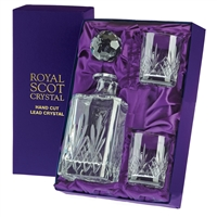 Traditional Crystal Square Whisky Decanter & Glass Set. Highland Pattern Presentation Boxed by Royal Scot Crystal