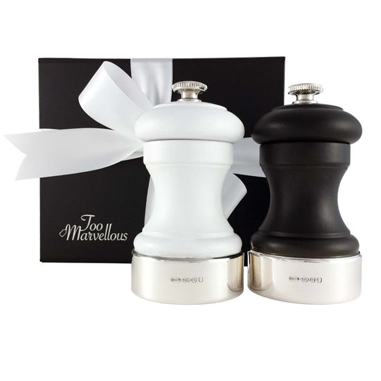 Pair Black & White Wood and Sterling Silver Peugeot Salt and Pepper Mills.