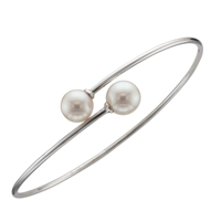 9ct White Gold Bangle set with Two Fine White Cultured Akoya Pearls