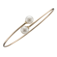 9ct Yellow Gold Bangle set with Two Fine White Cultured Akoya Pearls