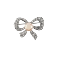 9ct White Gold Diamond and Cultured Akoya Pearl Bow Brooch