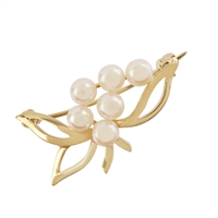 Fancy 9ct Yellow Gold and Cultured Freshwater Pearl Brooch