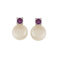 9ct White Gold Amethyst and Cultured Freshwater Pearl Earrings