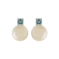 9ct White Gold Blue Topaz and Cultured Freshwater Pearl Earrings