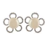 9ct White Gold Fancy Cultured Akoya Pearl Earring Studs