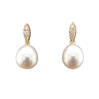 18ct Yellow Gold Diamond and Cultured Freshwater Pearl Short Drop Earrings