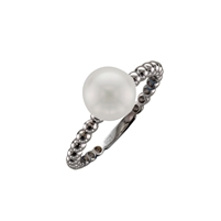 9ct White Gold Solitaire Cultured Akoya Pearl Dress Ring