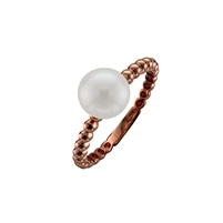 9ct Rose Gold Solitaire Cultured Akoya Pearl Dress Ring