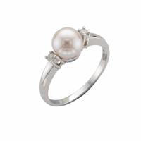 9ct White Gold Cultured Akoya Pearl & Diamond Dress Ring