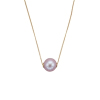 9ct Yellow Gold Pink Cultured Freshwater Pearl Slider Style Necklet