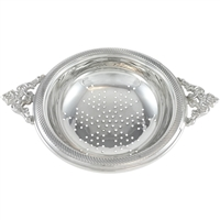 Sterling Silver Two Handled Tea Strainer with Filigree Handles and Gilded Bowl