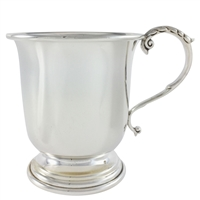 Sterling Silver Straight Sided Christening Cup with Acanthus Leaf Detail. British Made.