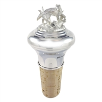 Sterling Silver Hunting Scene Bottle Stopper with Cork. British Made